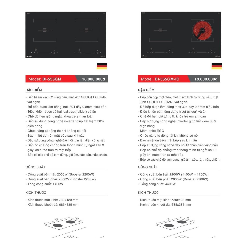 Bếp điện từ model: BI-555GM và BI-555GM-IC