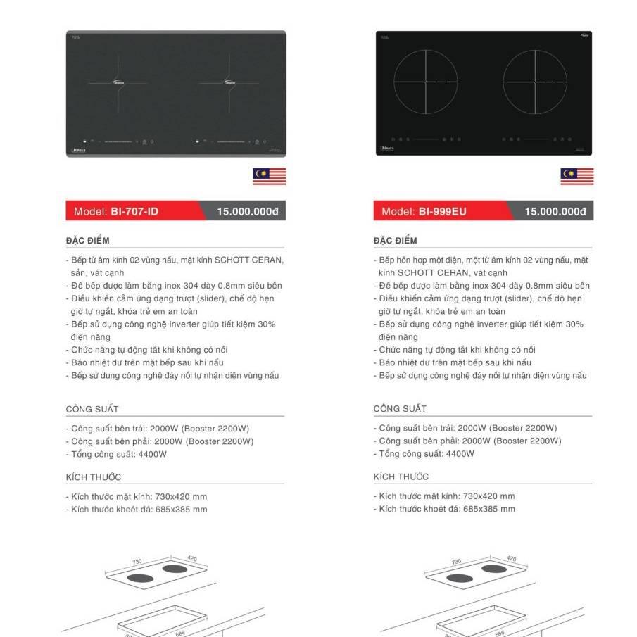 Bếp điện từ model: BI-707-ID và BI-999-EU