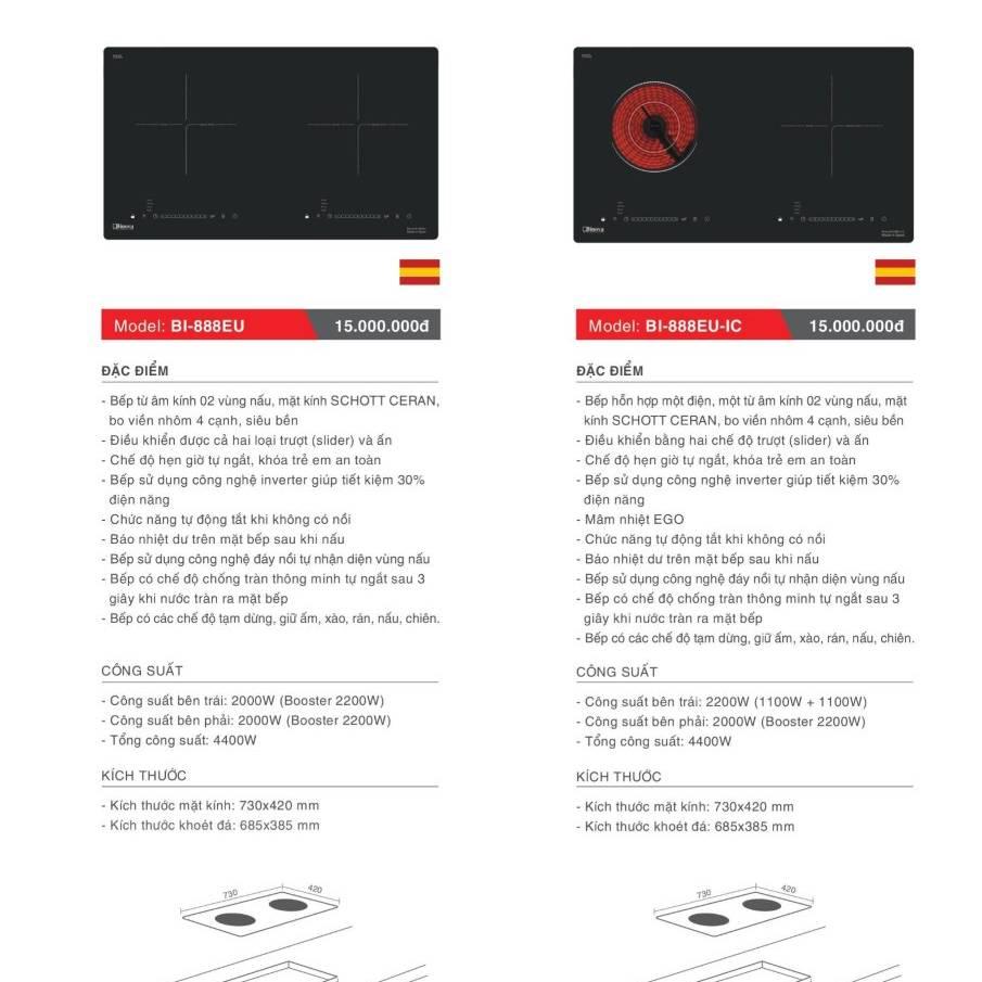 Bếp điện từ model: BI-888EU và BI-888EU-IC