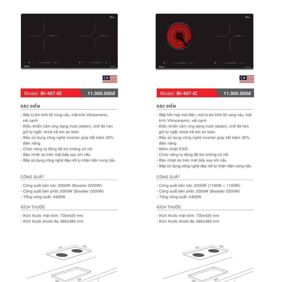 Bếp điện từ model BI-407-ID và BI-407-IC
