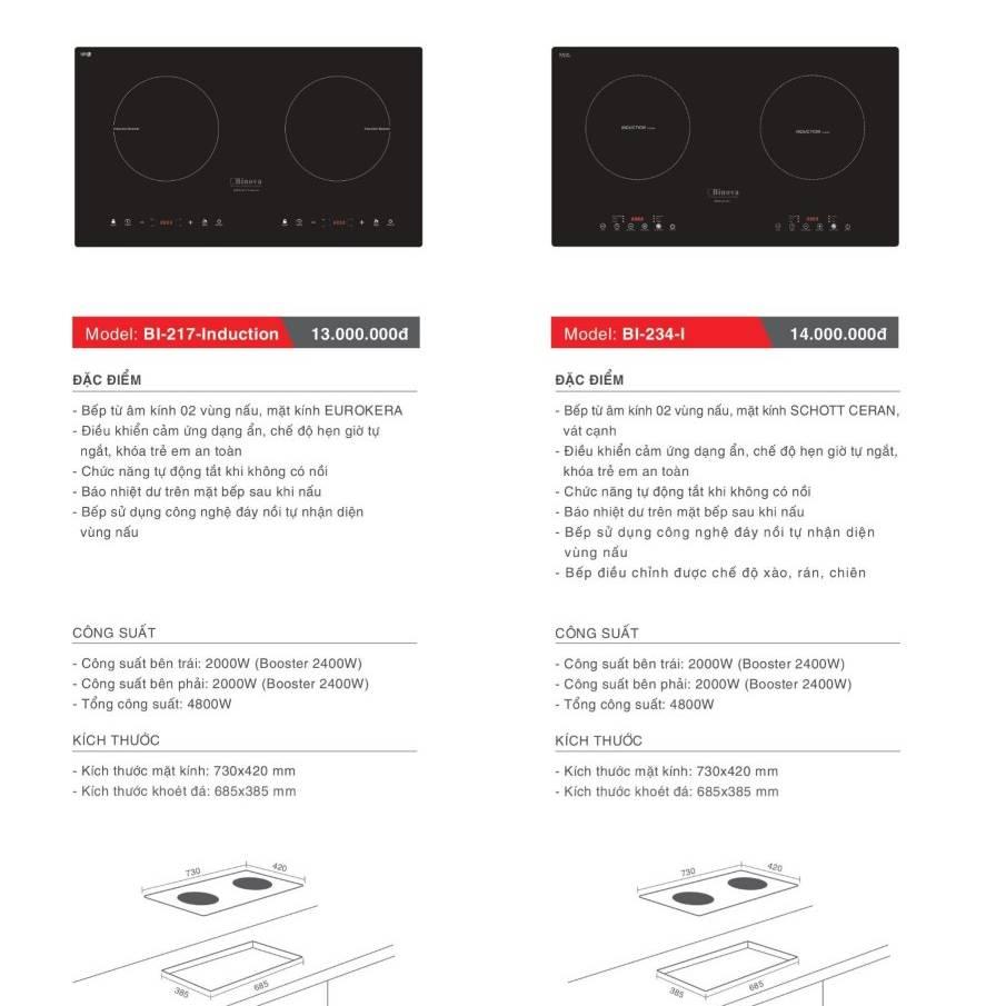 Bếp điện từ model: BI-217-Induction và BI-234-I