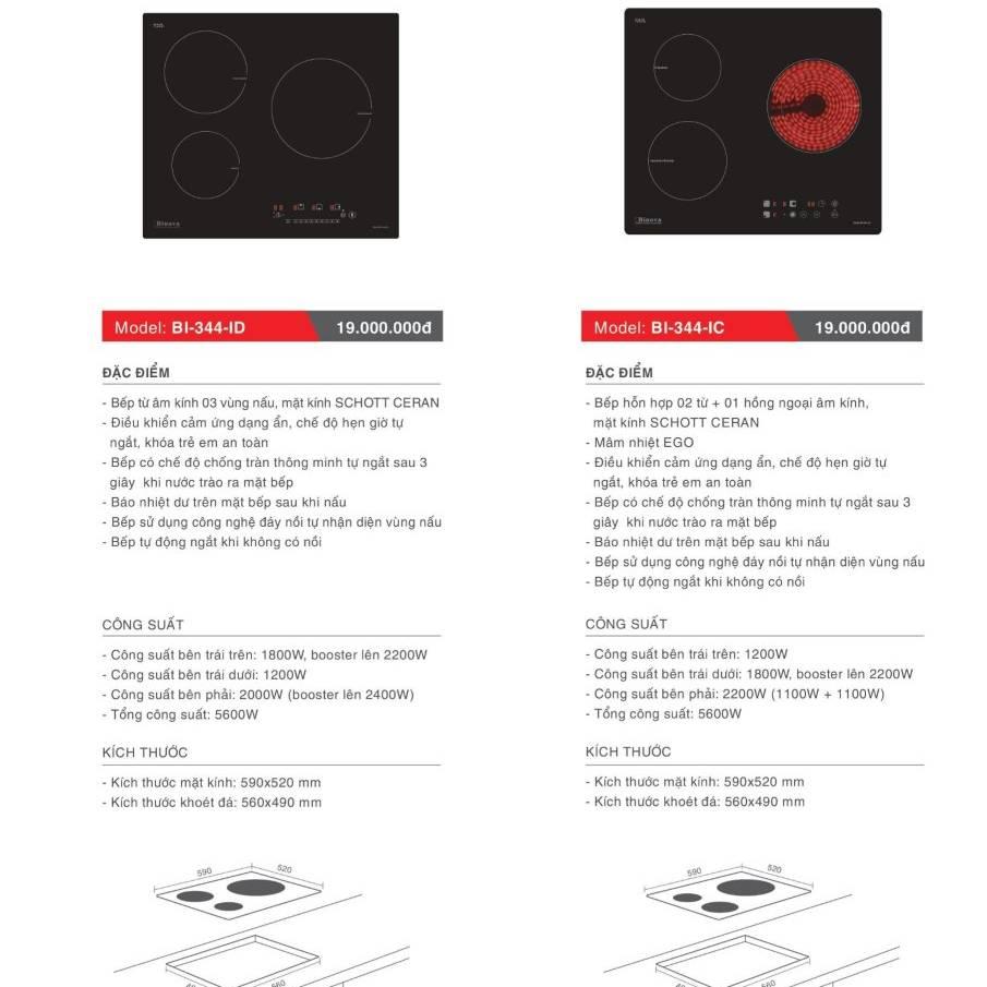 Bếp điện từ model: BI-344-ID và BI-344-IC