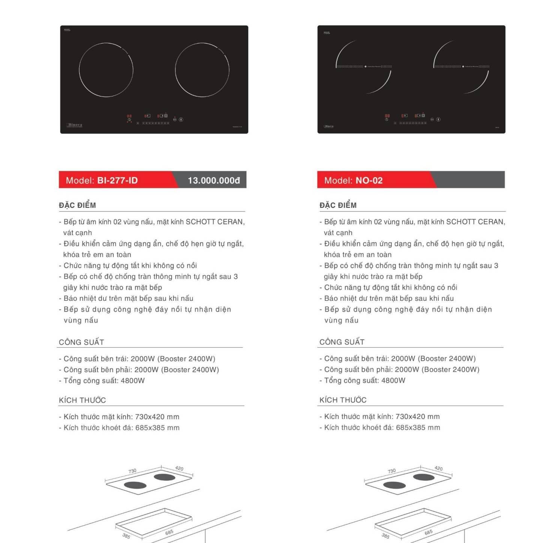 Bếp điện từ model: BI-277-ID và NO-02