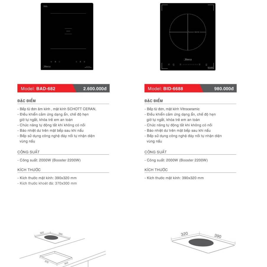 Bếp điện từ model: BAD-682 và BID-6688