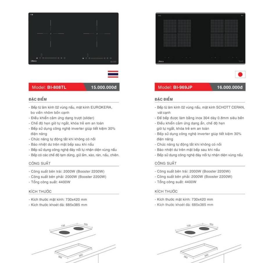 Bếp điện từ model: BI-808TL và BI-969JP