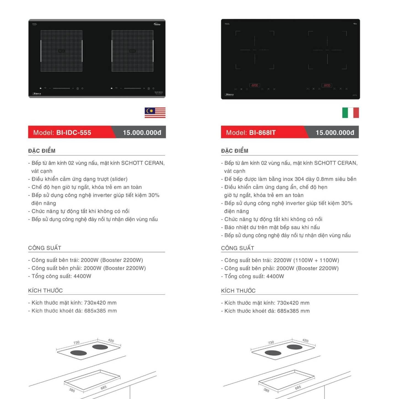 Bếp điện từ model: BI-IDC-555 và BI-868IT
