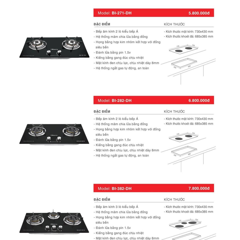 Bếp ga âm model: BI-271-DH và BI-282-DH và BI-382-DH
