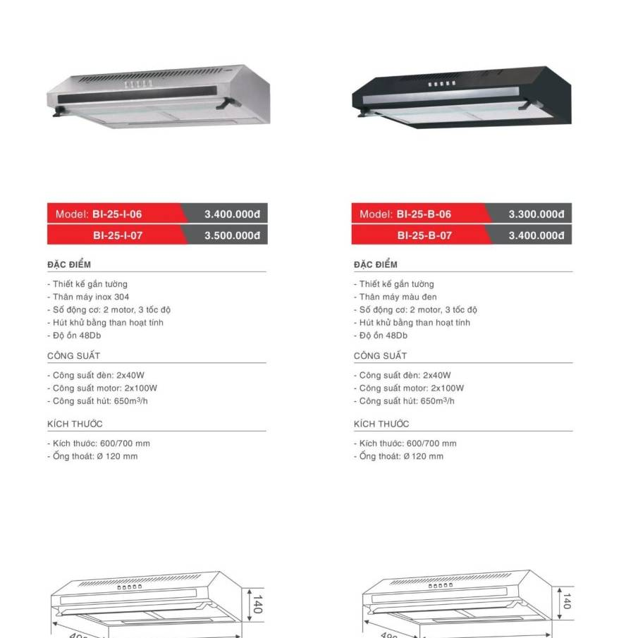 Máy hút khử mùi model : BI-25-I-06/07 và BI-25-B-06/07
