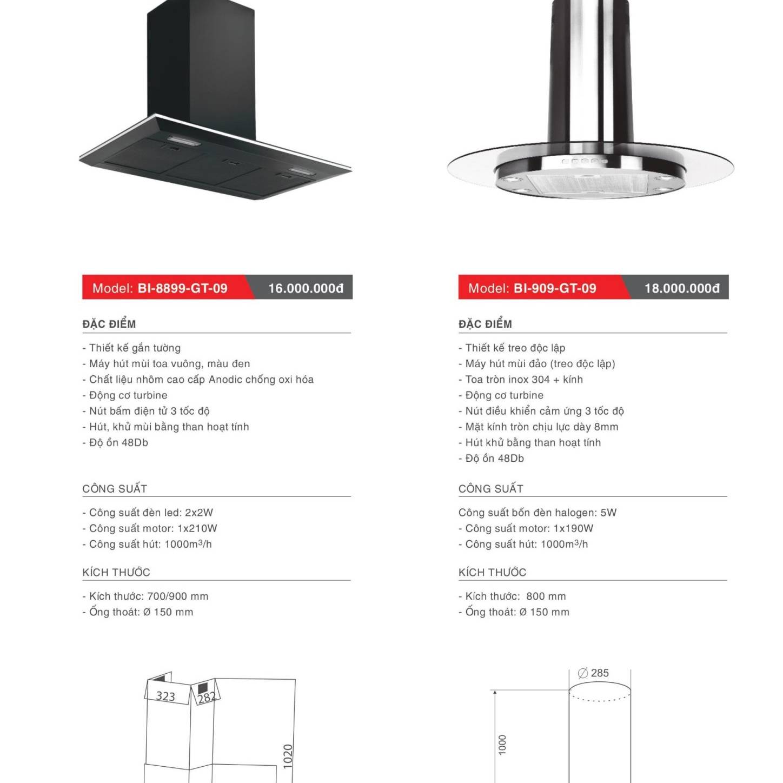Máy hút khử mùi model: BI-8899-GT-09 và BI-909-GT-09