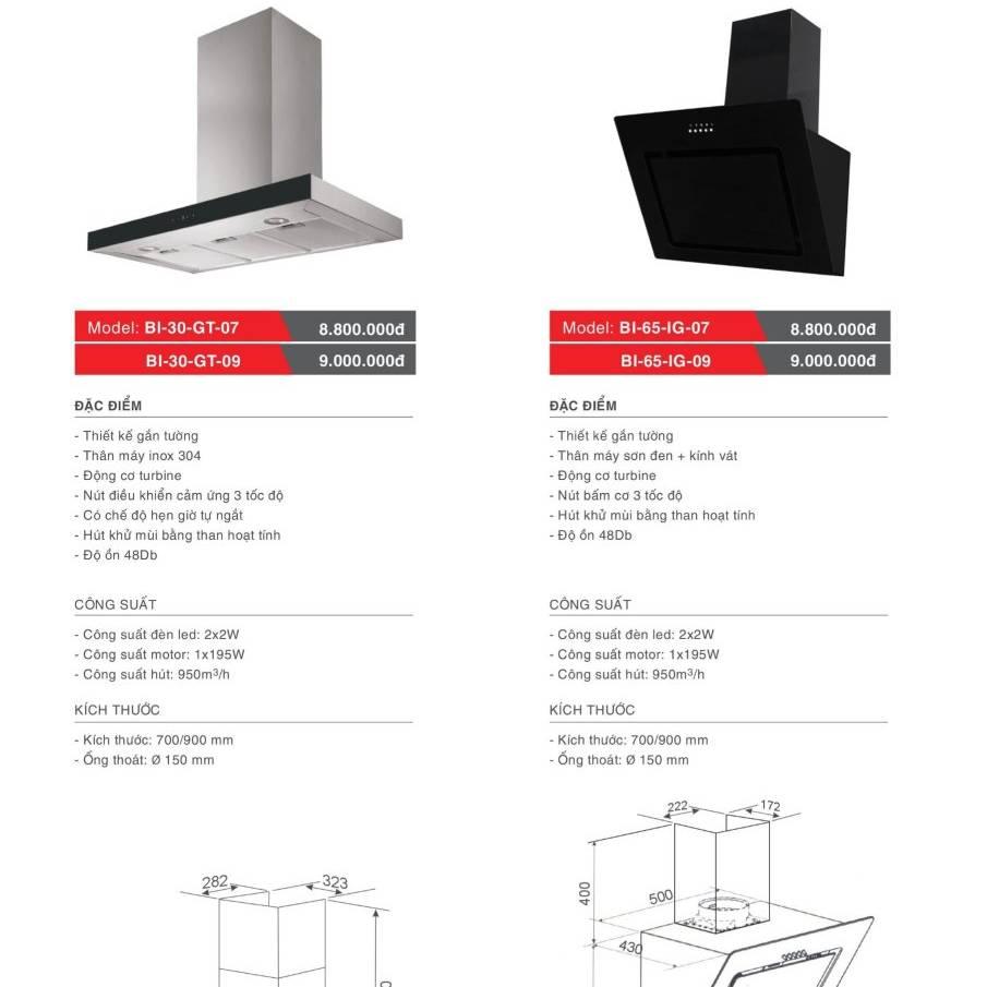 Máy hút khử mùi model: BI-30-GT-07/09 và BI-65-IG-07/09