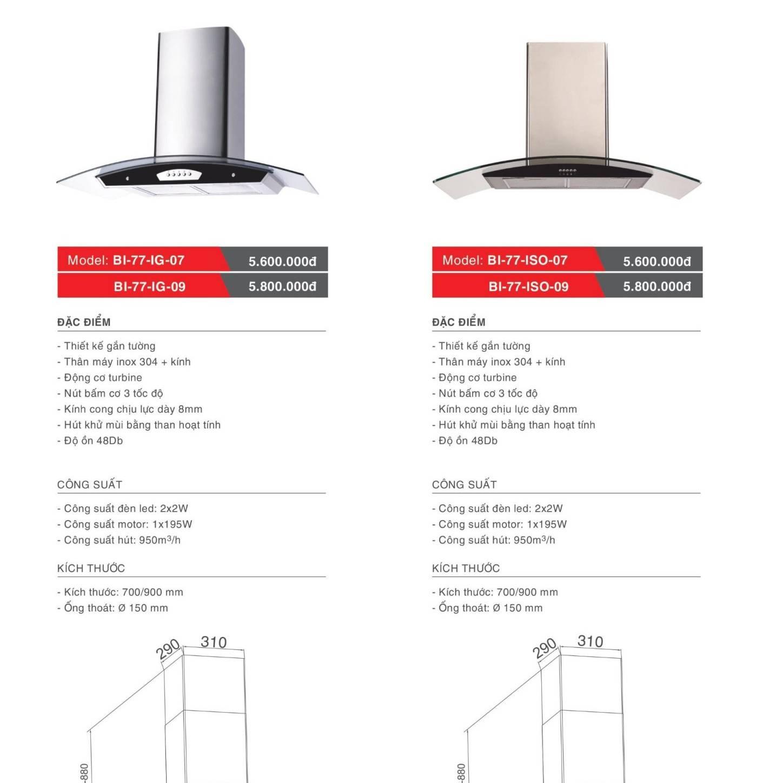 Máy hút khử mùi model: BI-77-IG-07/09 và BI-77-ISO-07/09