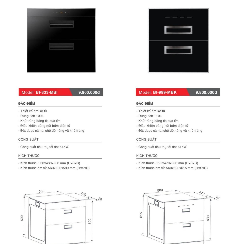 Máy sấy bát âm tủ model: BI-333-MSI và BI-999-MBK