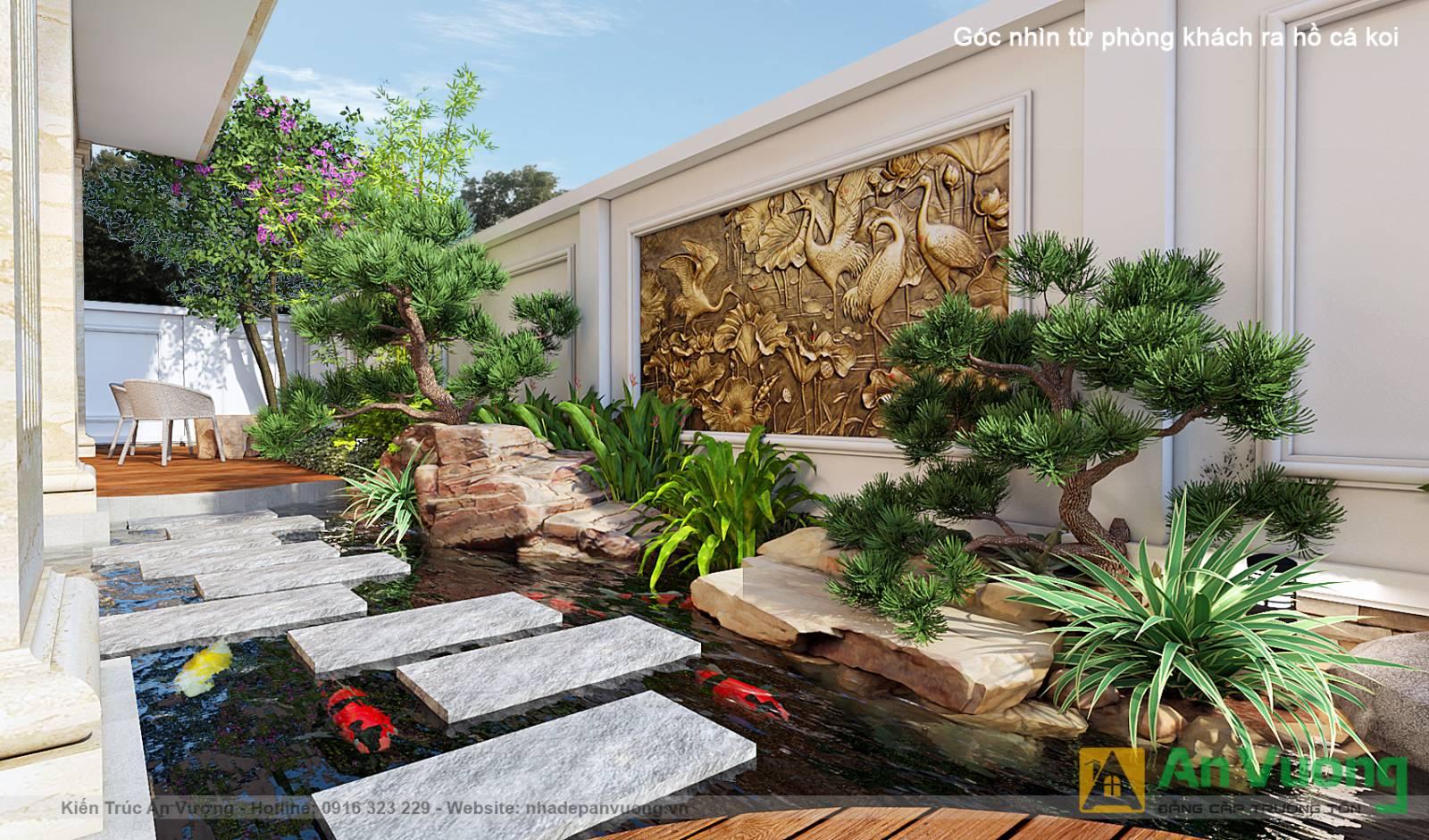 Mẫu thiết kế sân vườn có hồ cá Koi