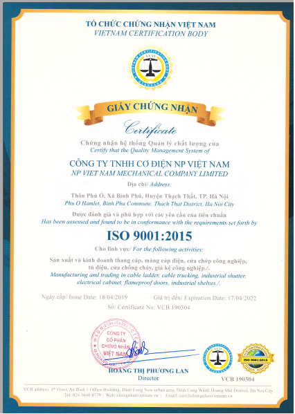 Chứng chỉ ISO 9001-2015